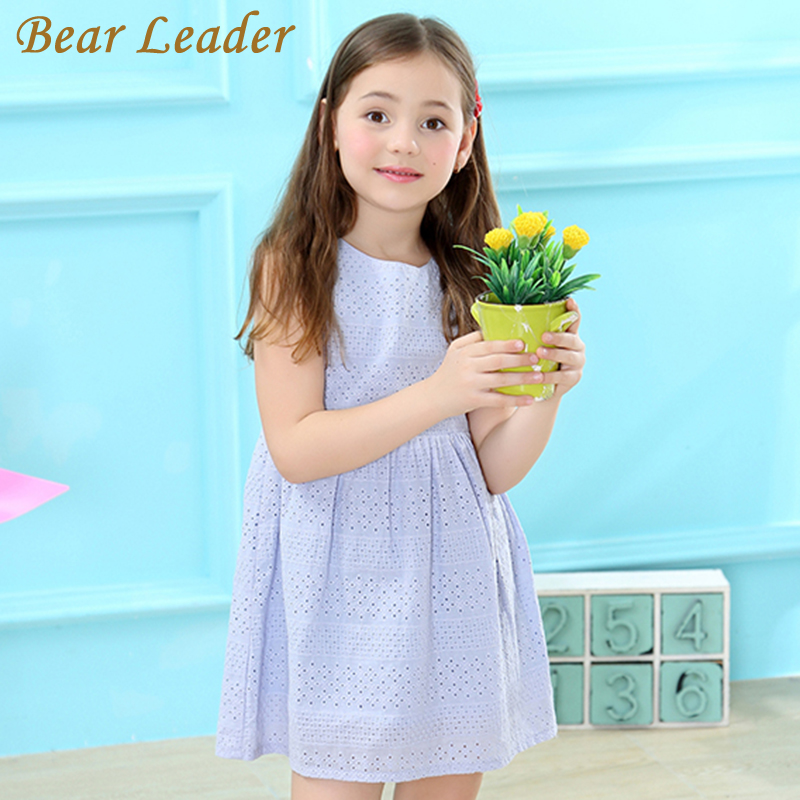 Bear Leader Girls Dress 2017 Brand Summer Style Princess Dress Sleeveless Blue Hollow out Design for Girls Dress 3-7year Clothes bear leader girls dress 2016 new summer style party dress stella the swallow embroidered sleeveless dress girls princess dress