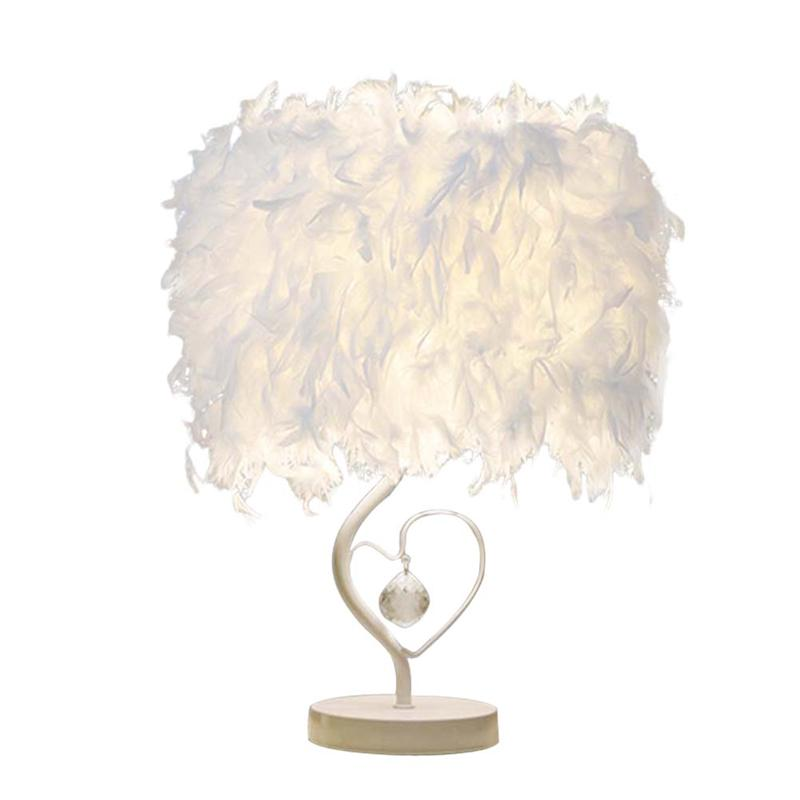 Bedside Reading Room Sitting Room Heart Shape Feather Lampshade Crystal Light Table Lamp with US-plug office table decoration led desk lamp nightlights bedside room sitting room heart shape feather crystal table lamp