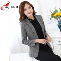 Solid Color Blazer Women 2016 Autumn Fashion Professional Formal Suit Jackets Slim Blazer with Pockets  Plus Size 3XL