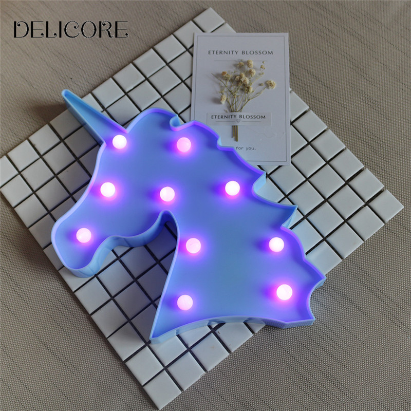 DELICORE Purple Light Unicorn Head Led Night Lights Animal Marquee Lamps On Wall For Children Party Bedroom Decor Gifts S027-P