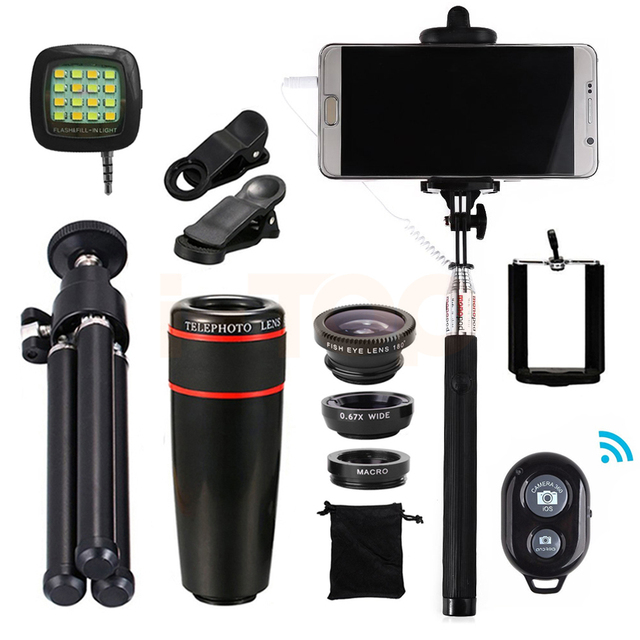 15in1 8x Zoom Telephoto Lens Fisheye Wide Angle Macro Lentes With Tripod Clips Selfie Flash Light Selfie Stick Bluetooth Shutter