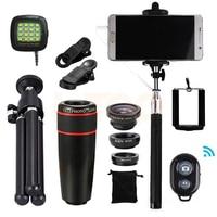 15in1 8x Zoom Telephoto Lens Fisheye Wide Angle Macro Lentes With Tripod Clips Selfie Flash Light Selfie Stick Bluetooth Shutter