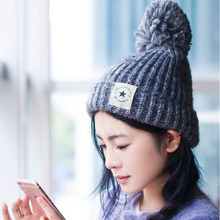 2017  Fashion Wool Knitted Winter Hats Women Skullies Beanies Hat Cap Warm New Design Five-pointed Star Patch
