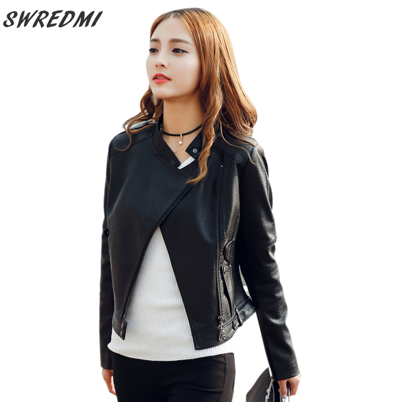 SWREDMI 2019 Spring Slim Black   Leather   Jacket Women O-Neck Zipper Long Sleeve Casual Female   Leather   Coat Ladies   Suede