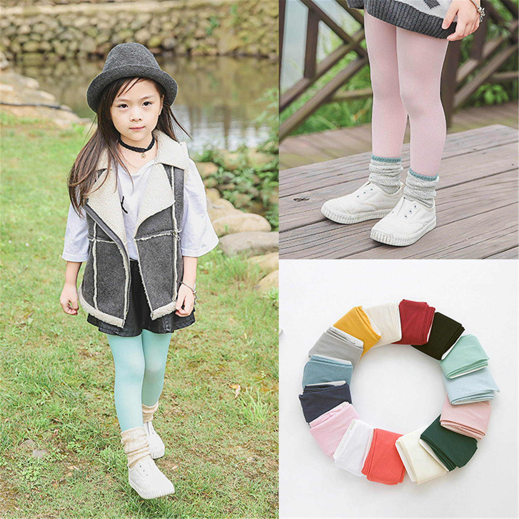 Solid Color Soft Kawaii Tights Lovely Velvet Children Girl Kids Pantyhose Tights Dance Tights Stocking For