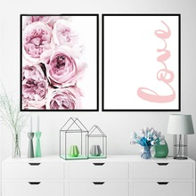 Painting Abstract Pink Flower Wall Decor Canvas Pa