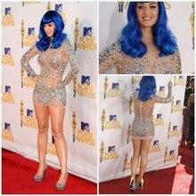 Abendkleider Champagne Katy Perry See Obwohl Mini Kurze Cocktailkleider Langarm Sexy Roten Teppich Kleid Homecoming Kleider