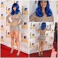 Vestidos De baile Champanhe Katy Perry Ver Embora Mini Cocktail Curto Vestidos de Manga Comprida Sexy Vestido Do Tapete Vermelho Vestidos de Regresso A Casa