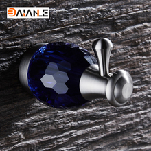 BAIANLE Blue Diamond Robe Hook Stainless Steel Brushed Nickel Coat Clothes Hooks Towel Hanger Bathroom Accessories baianle bathroom stainless steel clothes hook wall mount indoor and outdoor rotating coat hook bathroom accessories
