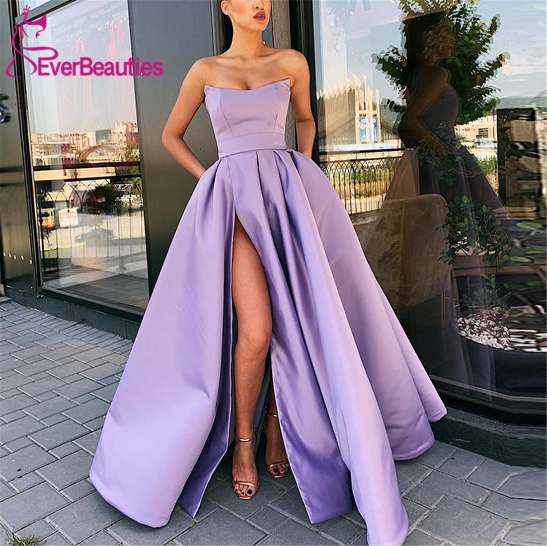 Prom Dresses 2019 with High Slit Satin Purple Vestidos De Gala Evening Party Dresses Prom Gown Robe De Soiree