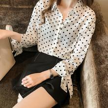 Yfashion Chiffon Dots Shirt Blouse Women Sleeve Bow Printing Long Shirts Tops Blouses for Female