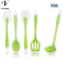 5 teile/satz Küche Kochen Utensil Set Heat Resistant Kochen Werkzeuge einschließlich Löffel Turner Spachtel Suppenschöpfer Farbe Grün