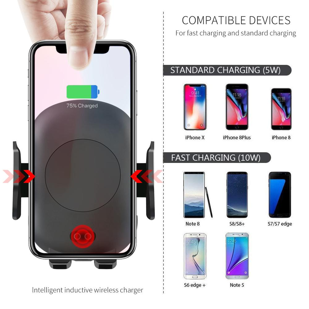 Image 5 - 10W Qi Wireless Charger Car Phone Holder for iPhone 8 X XR XS Infrared Fast Wireless Charging Car Charger for Samsung S9 S8 S10-in Mobile Phone Chargers from Cellphones & Telecommunications