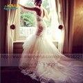 Сексуальная совок старинные кружева русалка свадебные платья 2016 романтический длинным шлейфом спинки трубные простой платье невесты