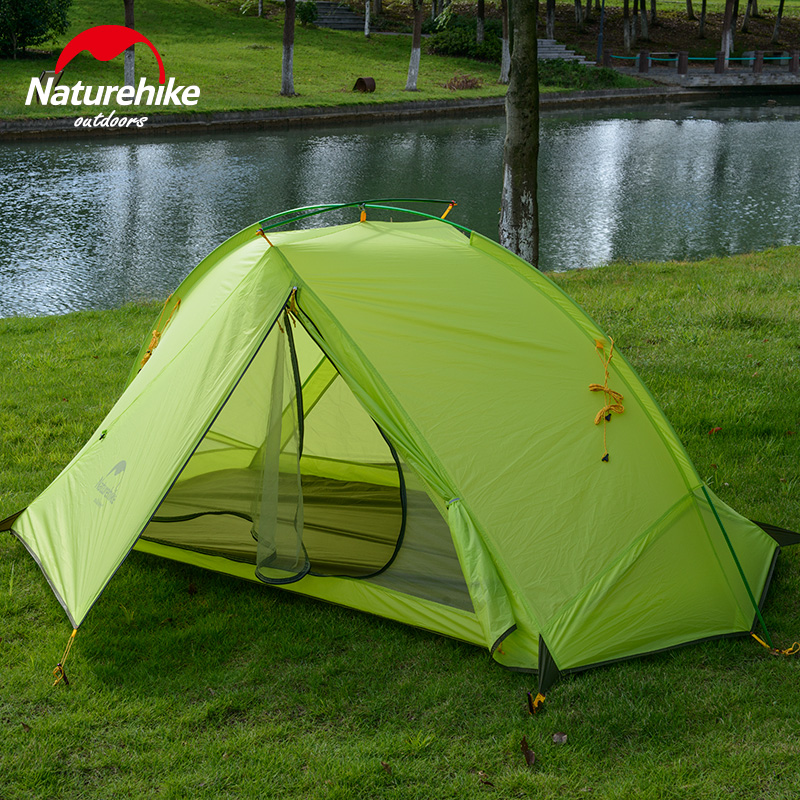 Naturehike Camping tents 1-2 Person riding hiking outdoor tent silicone fabric Ultralight 4 seasons portable travel tent high quality outdoor 2 person camping tent double layer aluminum rod ultralight tent with snow skirt oneroad windsnow 2 plus
