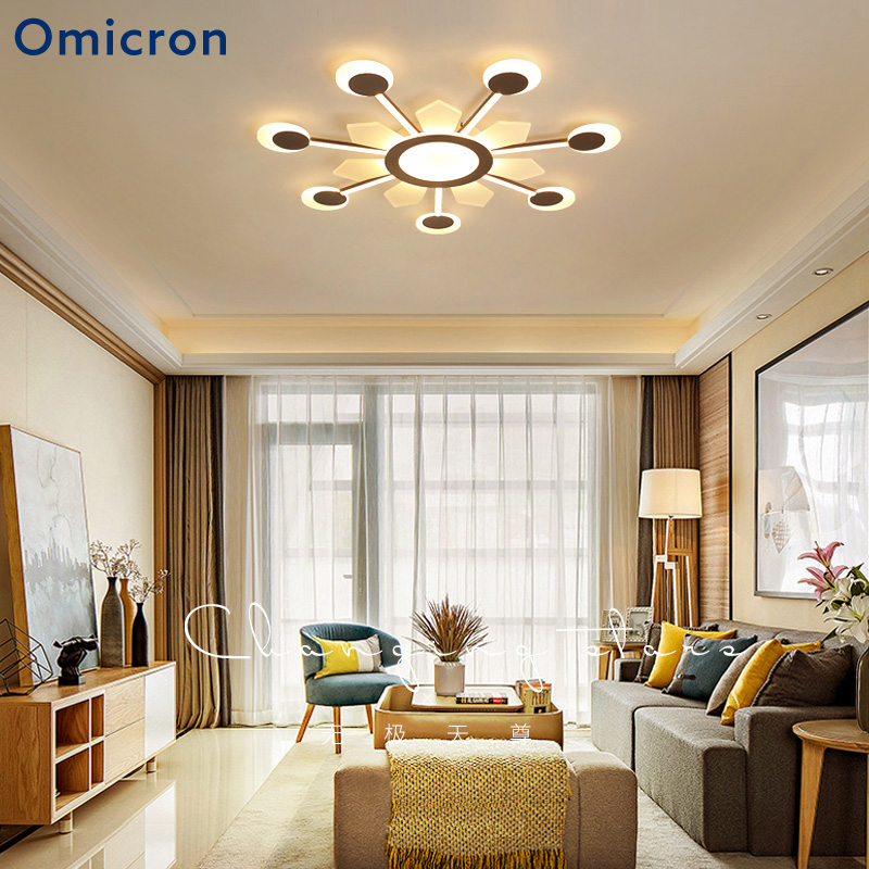 Omicron Modern LED Ceiling Lights Creative Minimalism Brown Frame Lamp For  Living Room Lights Bedroom Home Lampara