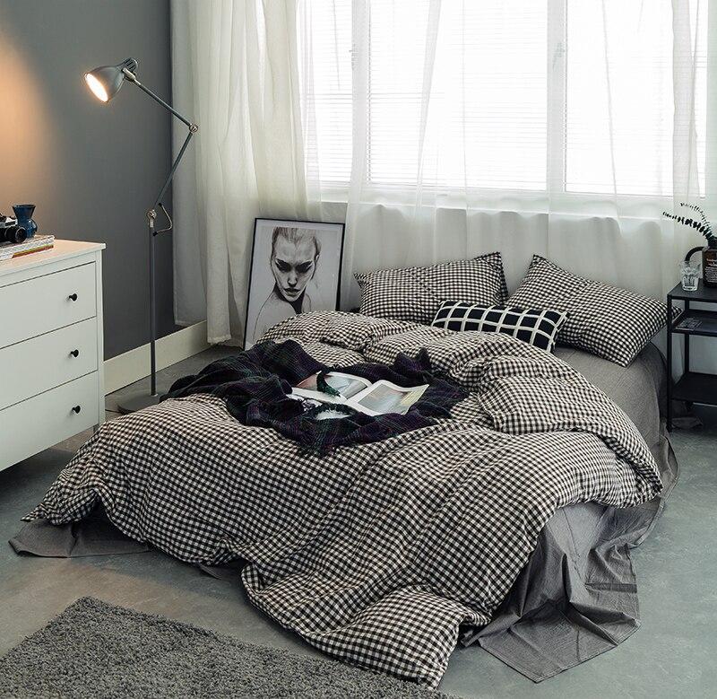 100 cotton soft bed sheet set white grey black plaid bedding set kids boys twin queen king size duvet cover bed sheet linen set sheet set bedding setbed sheet set aliexpress