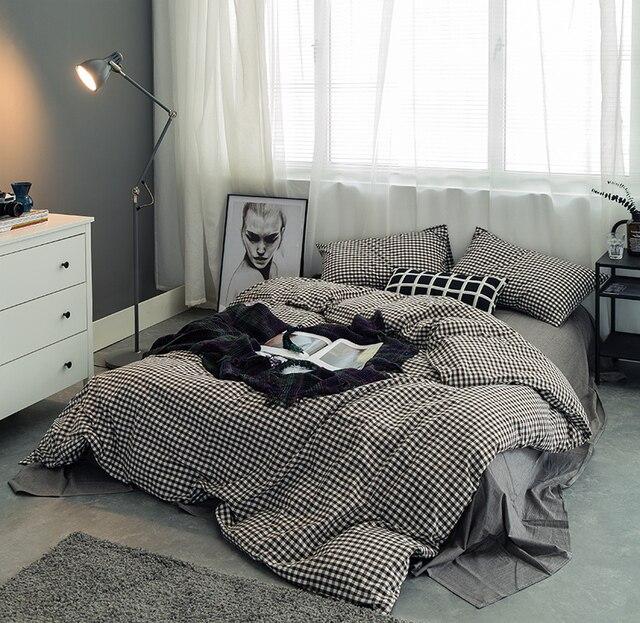 100%Cotton Soft Bed Sheet Set White Grey Black Plaid Bedding Set Kids Boys  Twin