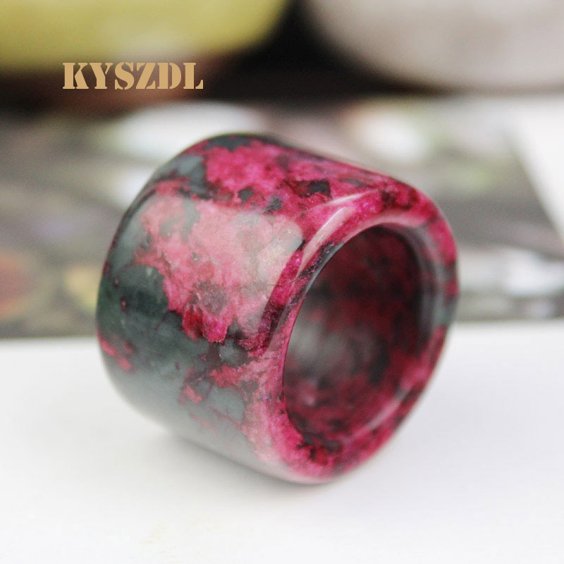 KYSZDL natural high quality Men Bloodstone Peach stone Floating flower pull Plum blossom stone Ring Gift jewelry in Rings from Jewelry Accessories