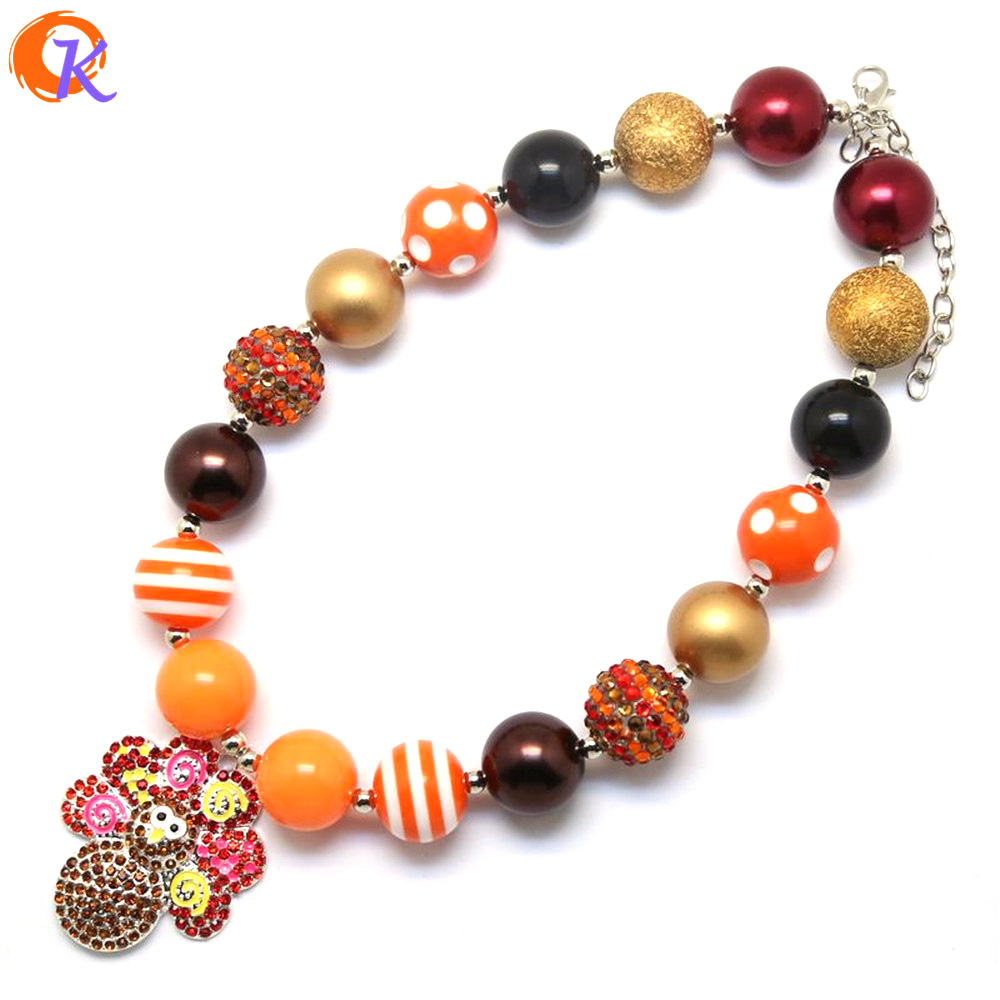Fashion Jewelry 2Pcs/Lot Handmade DIY Chunky Bubblegum Beads Necklace Alloy Colour Turkey Pendant Necklaces Jewelry alloy panda pendant jewelry set