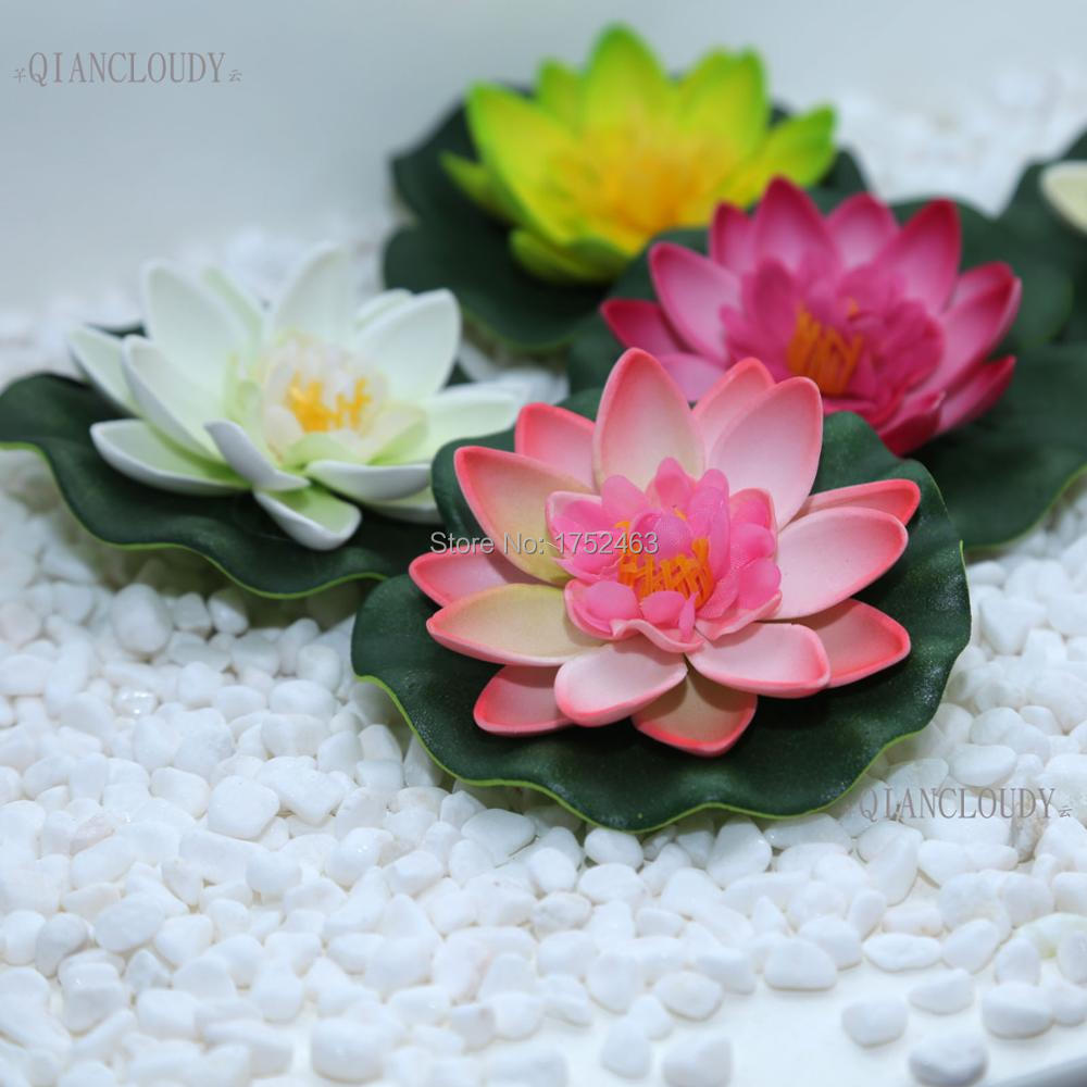 Retail Artificial Fake Lotus Flowers Leaf Pond Flower Water Lily