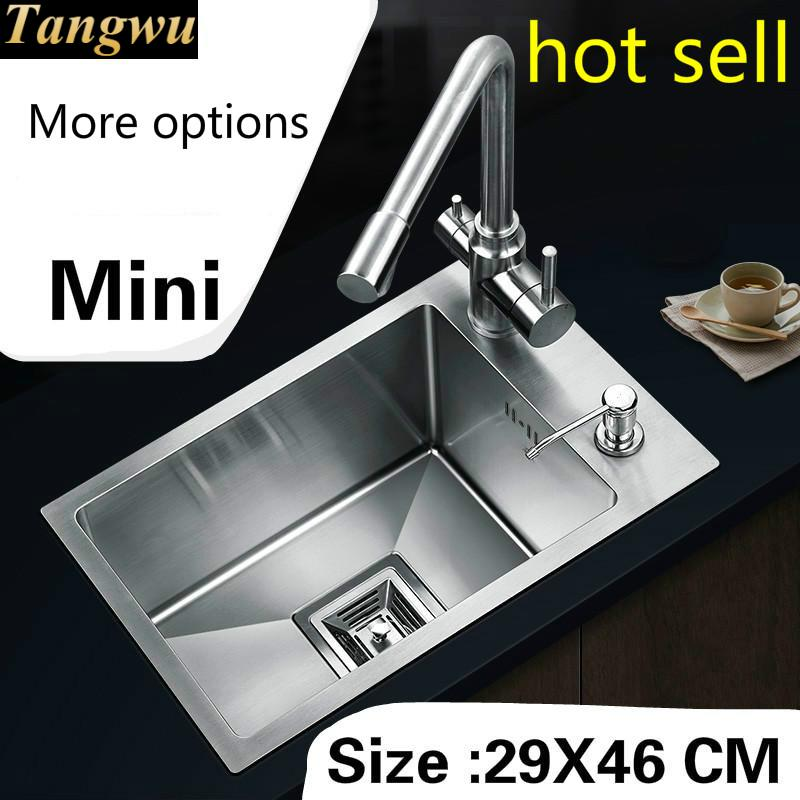 Free Shipping Household Balcony Vogue Kitchen Manual Sink Single Trough Do The Dishes 304 Stainless Steel Hot Sell Mini 29x46 CM