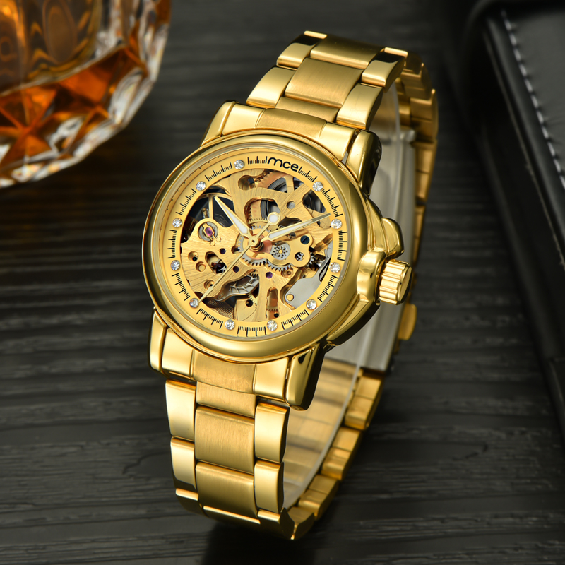 2018 new MCE brand Automatic Mechanical Watches for men fashion Skeleton Luxury Watch business gold stainless steel clock 176 fashion men mechanical hand wind watches men skeleton stainless steel wristwatches for male luxury golden watch men