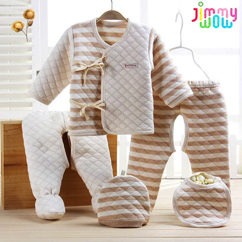 2019 New 5 Pieces set organic cotton thick Newborn baby boys girls Clothes Pants Rompers Cap Burp Cloths Bebes baby clothing Set
