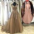 Muestra verdadera Fabulous Sexy V-Back de lujo exquisito Floral cristales de perlas con cuentas vestido de noche 2016 largo robe soiree longue ASAE09