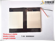 Free shipping 7.4V 6.6 Ah 8000 mah large-capacity ultra-thin MID tablet battery (thick) 3.8 * (wide) 140 * 110 mm (long)