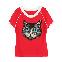 GRUIICEEN spring fashion women lady short sleeve t shirt tee knitted embroidery cat 2018 brand design top t shirt