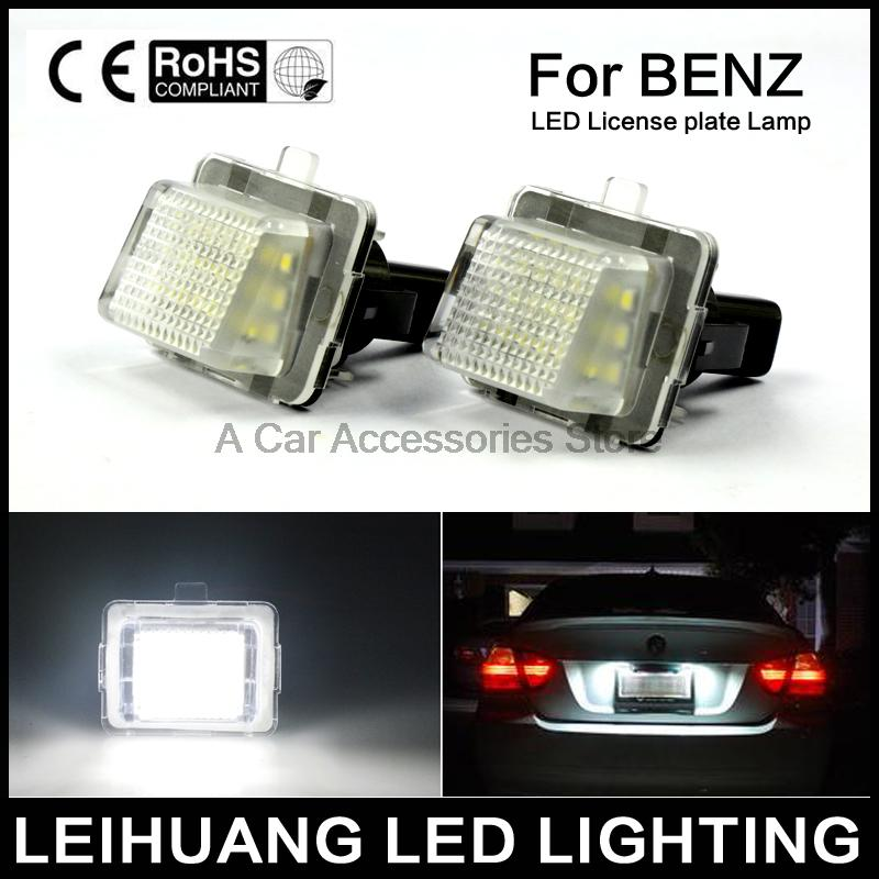2pcs White License Plate LED Light Error Free For Mercedes Benz W204 Facelift W207 W216 W218 W212 W221 W231 R231 2x white canbus led door courtesy footwell vanity mirror trunk lights for mercedes w204 w212 w207 w221 w216 r230 w251 w164 w463