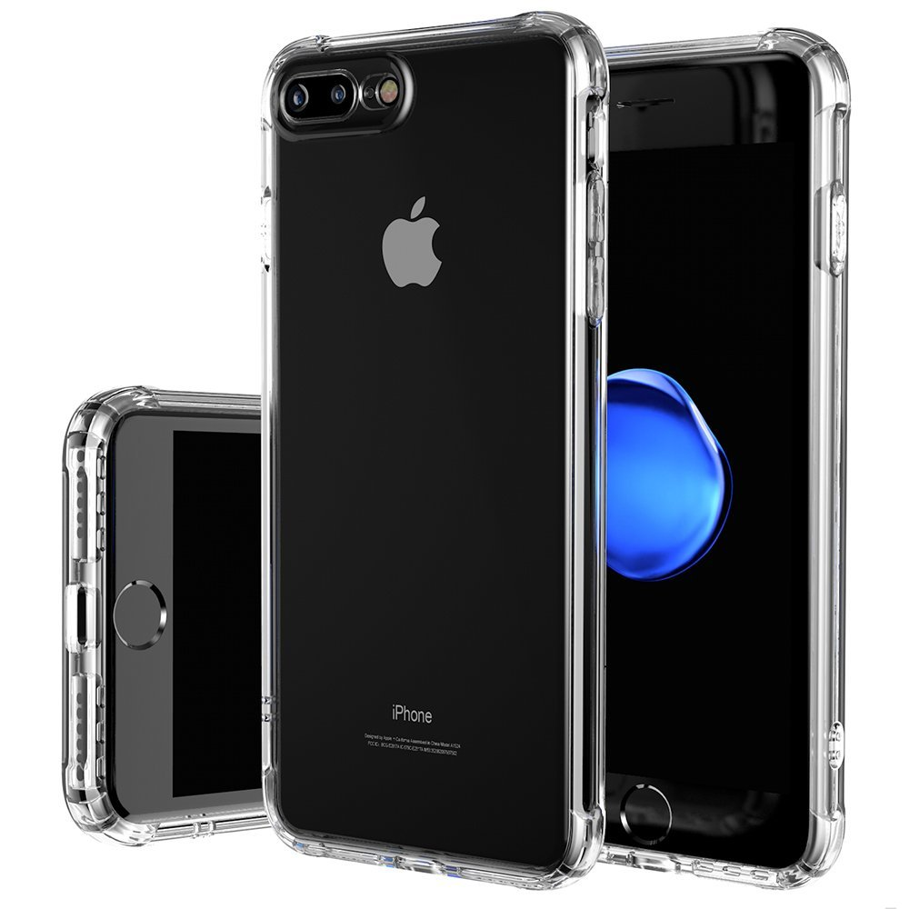 iPhone 8 Plus Case, iPhone 7 Plus Case [Shock Absorption] Reinforced Corners on Soft TPU Bumper Turn sound hole Protective Case