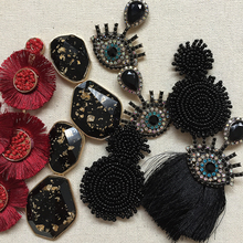 Ztech Handmade Black Beads Earrings Women Niche Trendy Baroque Hanging Big Statement Bridal Party Jewelry