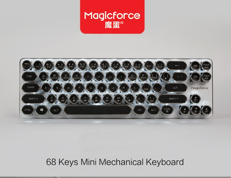 Sale Magicforce Mini 68 Key Vintage Typewriter Edition USB Wired Mechanical Gaming Keyboard Kailh Blue Axis
