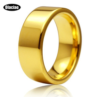 8mm Mens Classic Tungsten 18K Gold Ring For Promise Engagement Plain Wedding Band Ring 8mm
