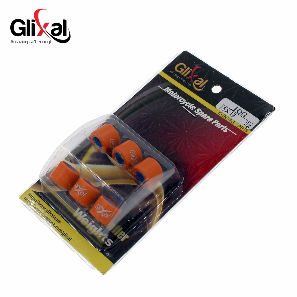 Glixal 15X12mm High Performance Racing Variator Roller Weights Set 1PE40QMB Minarelli Jog 50cc 2-Stroke Engine Scooter (4g-10g)