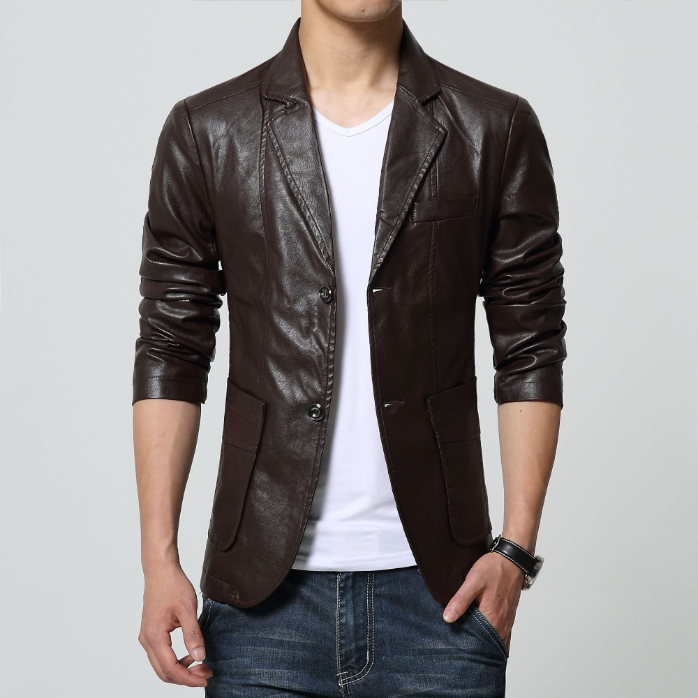 2018 High Quality Mens Jacket Slim Leather Casual Blazer motorcycle leather jackets Long Sleeve Two Buttons Cool For Men 6XL