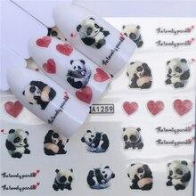 WUF 1 hoja de animales, diseños de gatos negros, pegatinas para Nail Art, transferencia de agua, adhesivos para puntas de uñas, accesorio DIY, decoraciones para uñas de belleza