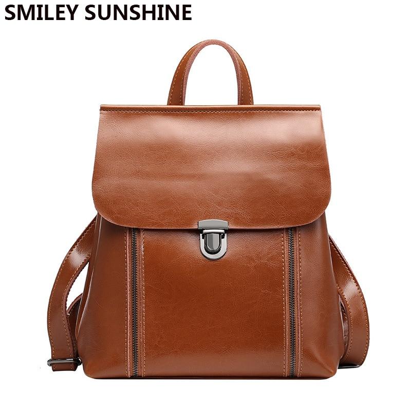 SMILEY SUNSHINE Genuine Leather Women Backpack Bag Multifunction Student Shoulder Bag 2081 Small Fashion Bagpack sac