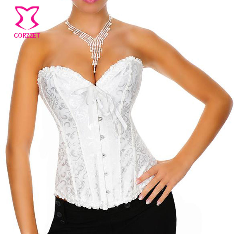 (S - XXL ) High Quality Sexy Victorian Jacquard Bridal Corset Waist Trainer Corpete Overbust Boning Bustier Corsets Corselet