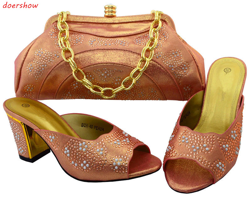 цены Latest Coming African Shoes And Matching Bags Italian Shoes And Bag Set Women Pumps With Stones For Party doershow BCH1-64