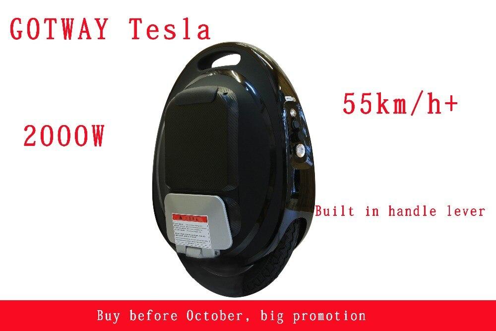 Gotway Тесла 16 дюймов электрический одноколесном велосипеде баланс автомобиля один колеса самоката 2000 Вт двигателя 850/1020WH, жизнь 60-80 км, скорость 55 км/ч +