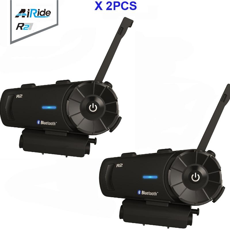 2PCS Airide R2 1000m 4 Riders Motorcycle Bluetooth Group Intercom Headset FM MP3 Handsfree BT Interphone For Full Face Helmet