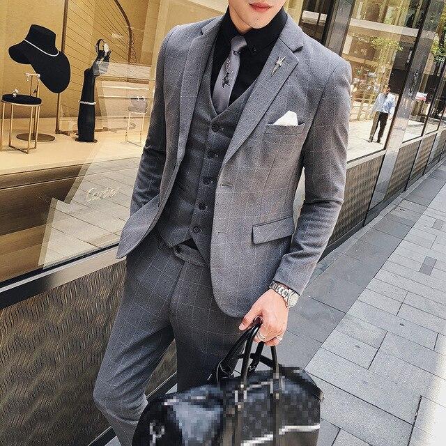 Mens Suits Designers 2018 British Style Suits Men Plaid Suits Formal
