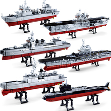 Navy Battle Ship Aircrafted Carrier Military Submarine Naval Destroyer Warship Model Building Blocks Kids Toys цена