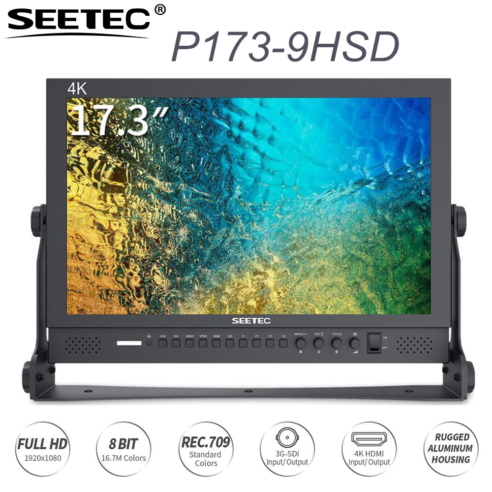 SEETEC P173 9HSD 17 3 IPS 3G SDI HDMI Broadcast Monitor 4K Aluminum Design LCD Monitor