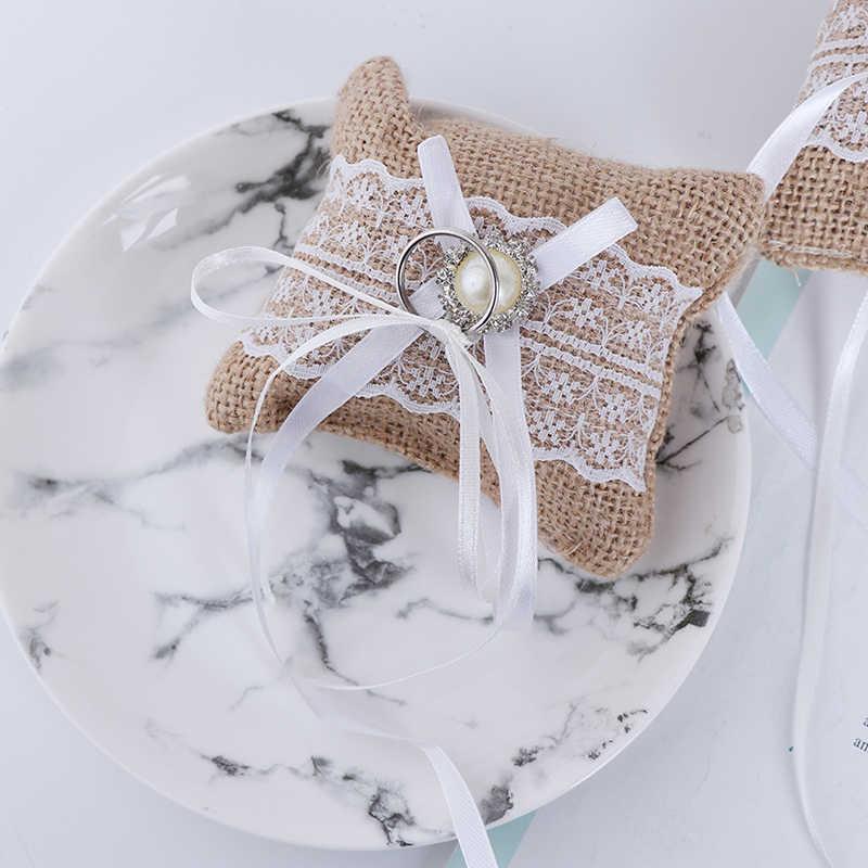 الجوت وسادة ل الزفاف جديد مقوس دانتيل حلقة وسادة الزفاف ل الزفاف الخطوبة الديكور وسادة خمر الخيش