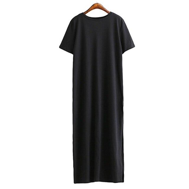 New Summer Long T-shirt Women Female Black T-Shirt Side Split Short Casual Big Size Thin Long Women Tops Tees KH805698