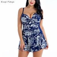 Evage pitaya 2019 new swim suit women swimwear good quality Large size fat Conservative backless V neck padded dress swimsuit